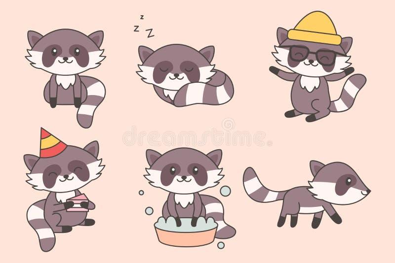 Raccolta divertente del procione di Kawaii Serie di caratteri sveglia del fumetto dei procioni per il bambino, scuola materna, pr royalty illustrazione gratis