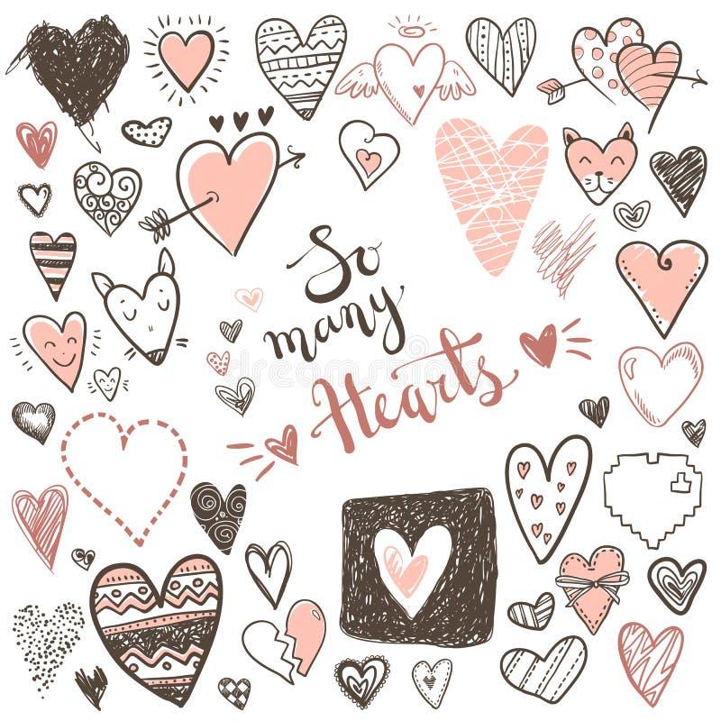 Raccolta divertente delle icone dei cuori di scarabocchio Giorno di biglietti di S. Valentino disegnato a mano, illustrazione di stock