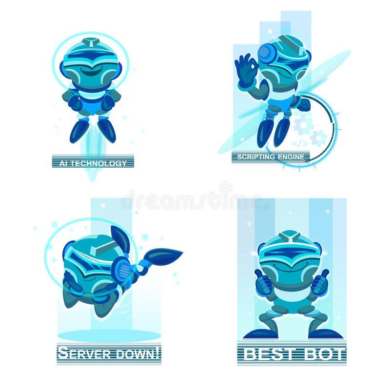 Raccolta domestica dei robot che aiuta e che sostituisce la gente nelle attività differenti Icone blu dei chatbots illustrazione di stock