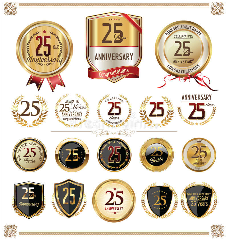 Raccolta dorata delle etichette di anniversario, 25 anni illustrazione di stock