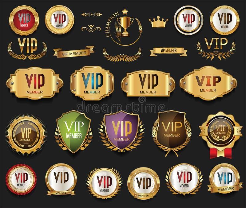 Raccolta dorata delle etichette e dei distintivi di VIP illustrazione vettoriale