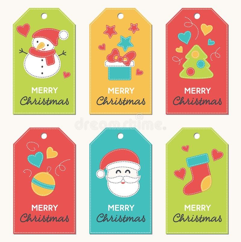 Raccolta etichette del regalo di Natale e del nuovo anno illustrazione di stock