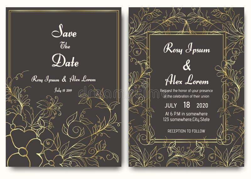 Raccolta floreale del modello della carta dell'invito di nozze royalty illustrazione gratis