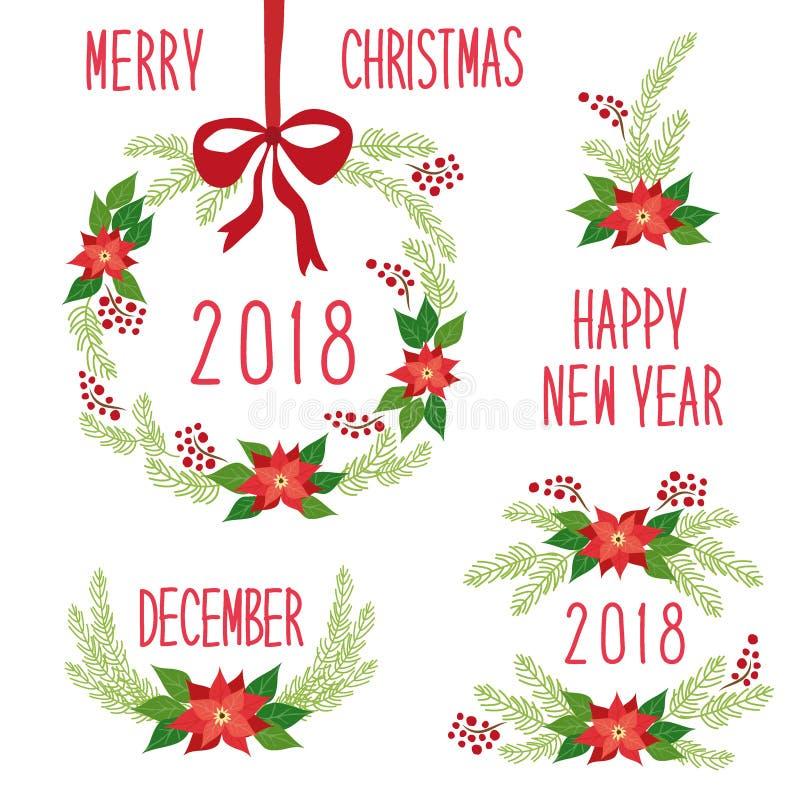 Raccolta floreale della corona di festa disegnata a mano d'annata sveglia di Natale illustrazione vettoriale