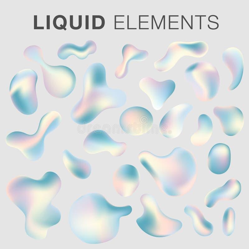 Raccolta fluida liquida degli elementi di vettore illustrazione di stock