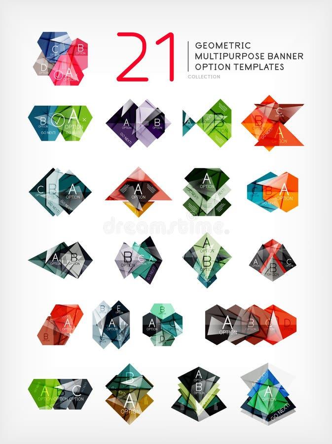 Raccolta a forma di geometrica delle insegne di opzione royalty illustrazione gratis