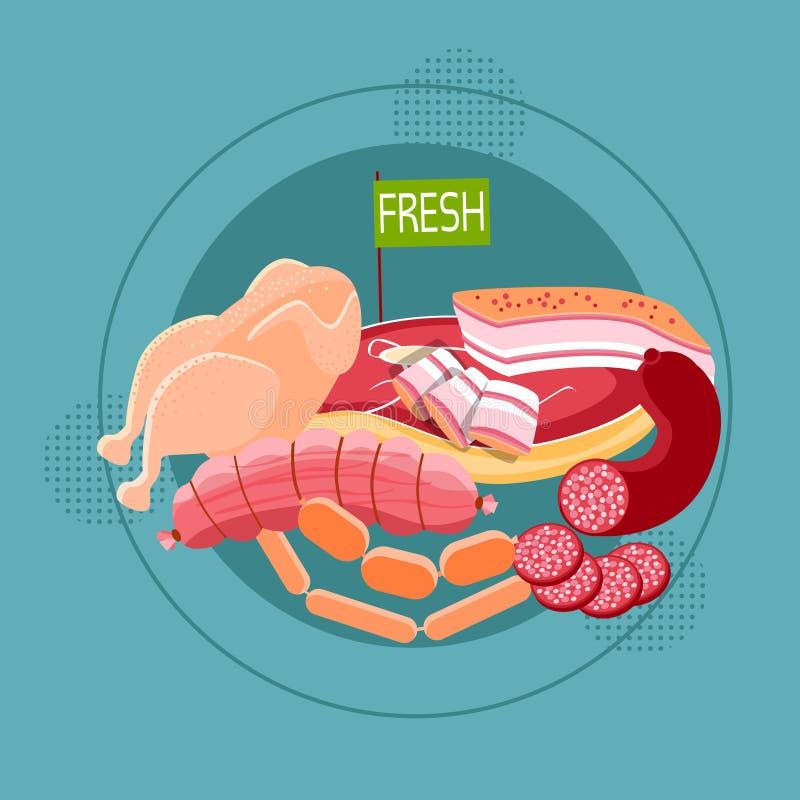 Raccolta gentile differente dell'alimento delle merci della salsiccia della carne fresca illustrazione vettoriale