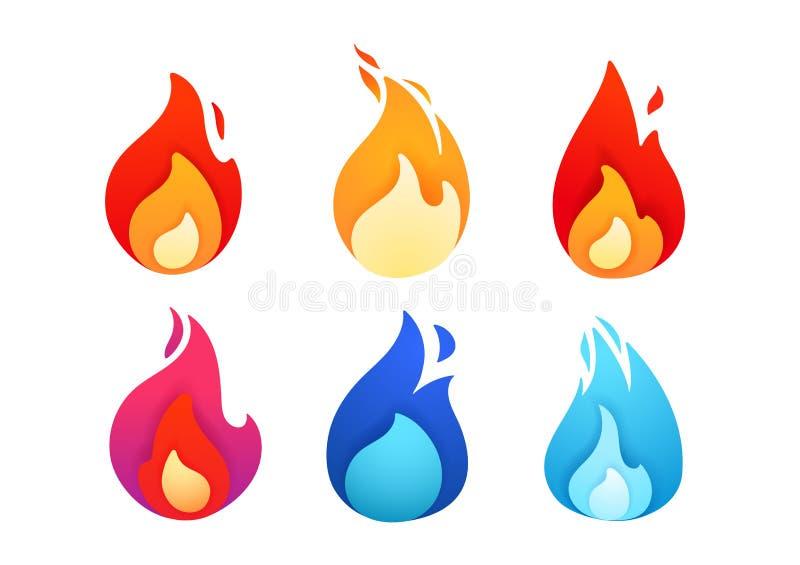 Raccolta geometrica astratta delle fiamme di colore vivo illustrazione vettoriale