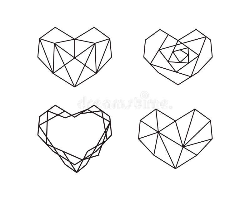 Raccolta geometrica di forme del cuore Metta del logos del cuore nel vettore Cuore Logo Symbol e giorno di biglietti di S. Valent illustrazione di stock
