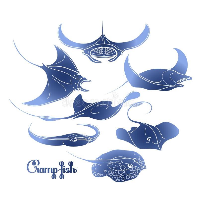 Raccolta grafica del pesce del crampo illustrazione di stock