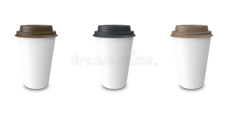 Raccolta, gruppo, insieme, caffè da portar via con il supporto di tazza Isolato su una priorità bassa bianca fotografia stock libera da diritti