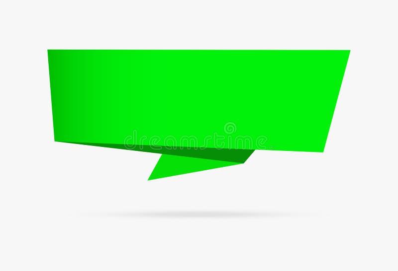 Raccolta infographic della natura dell'insegna di origami della carta verde del nastro illustrazione vettoriale