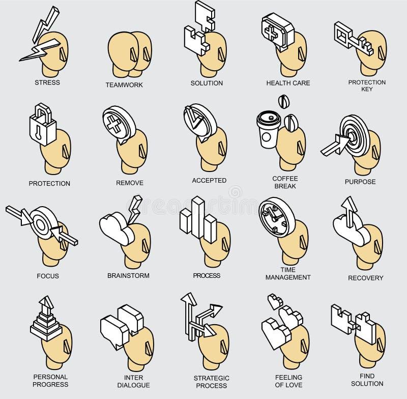 Raccolta isometrica delle icone del processo del cervello umano illustrazione di stock