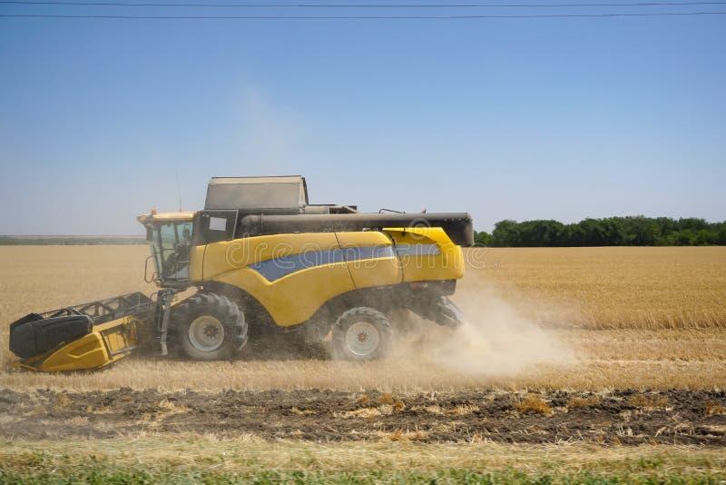 Raccolta L'associazione raccoglie il grano sul campo fotografia stock
