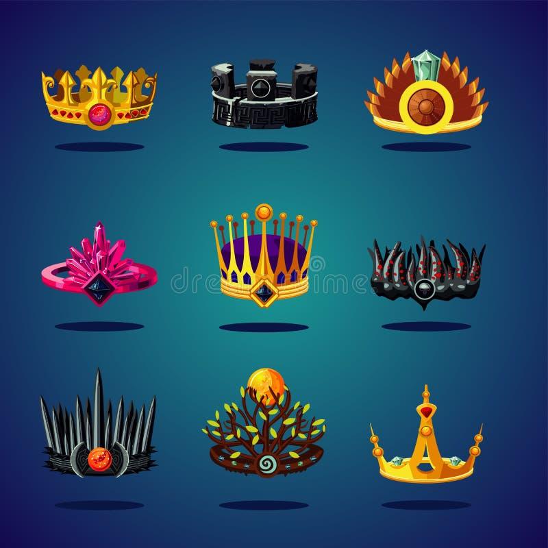 Raccolta magica di fantasia della corona Corona di re Icona di vettore del fumetto di progettazione del gioco illustrazione di stock