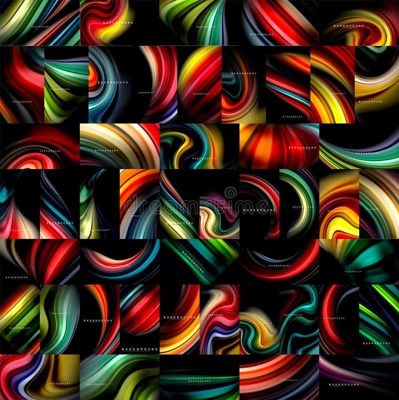 Raccolta mega degli ambiti di provenienza astratti liquidi, colori scorrenti di miscelazione fluida sul nero Universale variopint illustrazione vettoriale