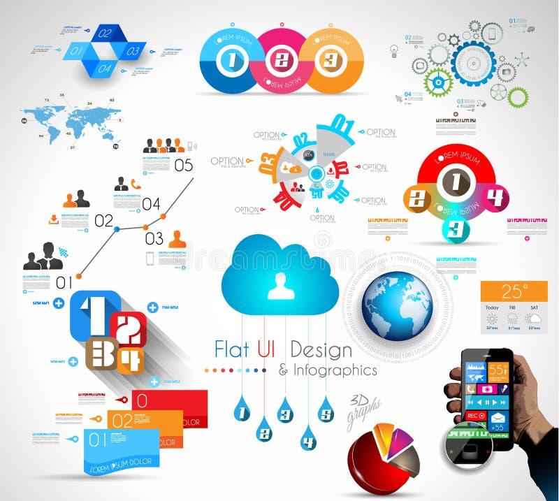 Raccolta mega degli oggetti di Infographics di qualità illustrazione di stock