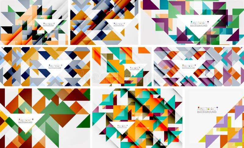 Raccolta mega dei modelli del triangolo - il fondo astratto progetta Per le insegne, ambiti di provenienza di affari, presentazio illustrazione di stock