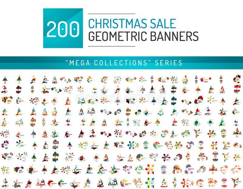 Raccolta mega dei modelli dell'insegna di vendita di Natale illustrazione vettoriale
