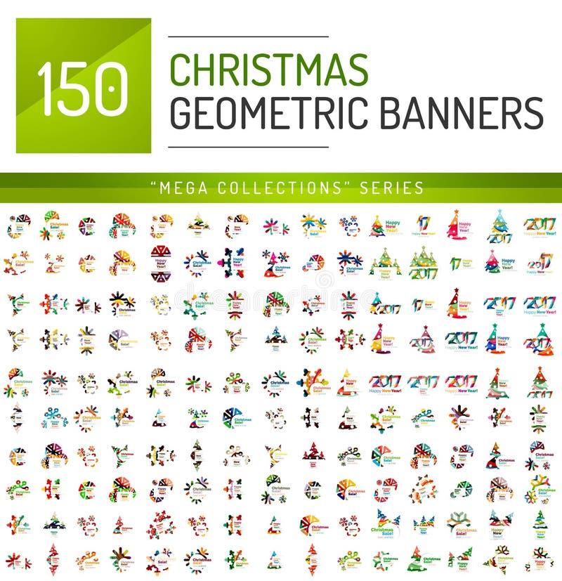 Raccolta mega dei modelli dell'insegna di vendita di Natale illustrazione di stock