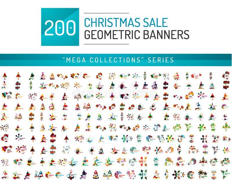 Raccolta mega dei modelli dell'insegna di vendita di Natale royalty illustrazione gratis