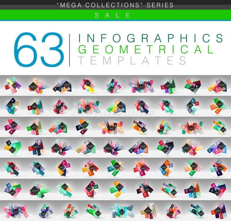 Raccolta mega dei modelli infographic di colore o di web geometrici dell'insegna con il testo di opzione di ABC del campione royalty illustrazione gratis