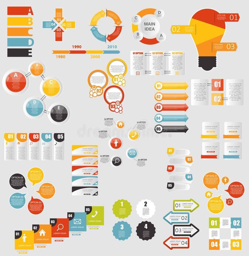 Raccolta mega dei modelli piani di Infographic per illustrazione vettoriale