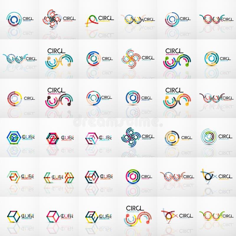 Raccolta mega di logo del cerchio di turbinio, linea sottile geometrica progettazione piana, linea segmenti collegata, lineare as illustrazione di stock