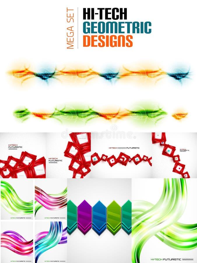 Raccolta mega enorme degli ambiti di provenienza geometrici dell'estratto di forma illustrazione di stock