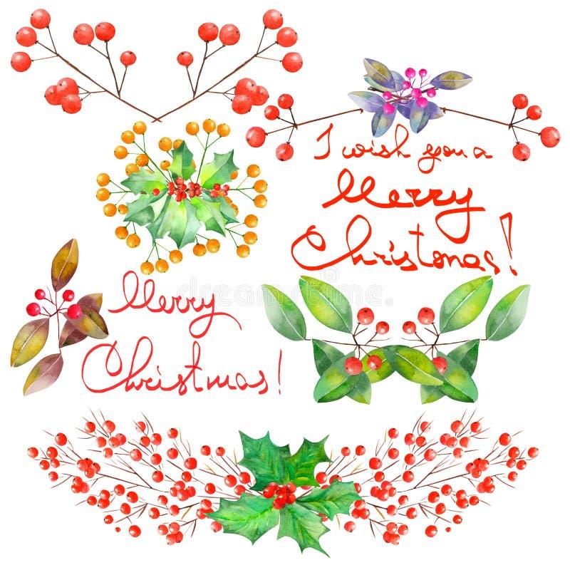 Raccolta (metta) con gli elementi floreali di Natale dell'acquerello della decorazione royalty illustrazione gratis