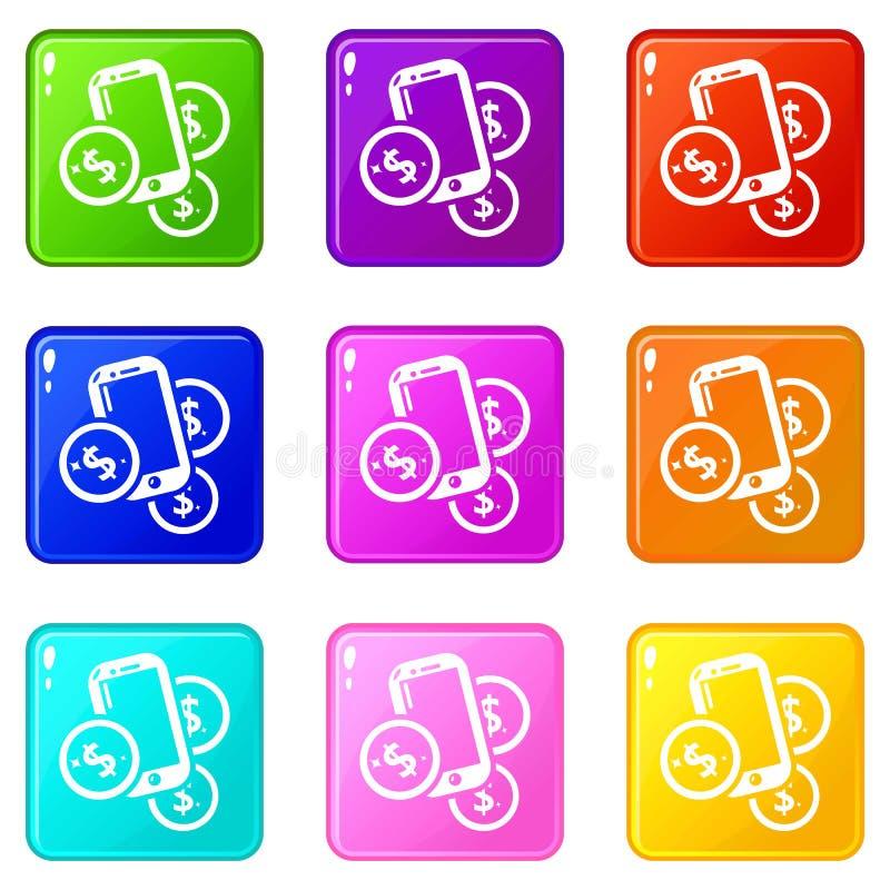 Raccolta mobile di colore dell'insieme 9 delle icone dei soldi royalty illustrazione gratis