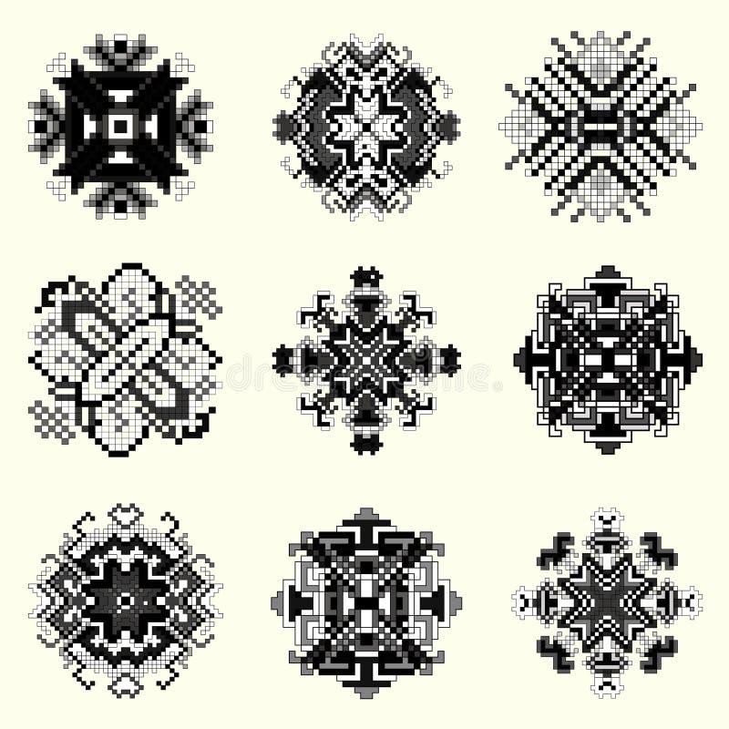 Raccolta monocromatica della mandala del pixel degli oggetti d'annata illustrazione vettoriale