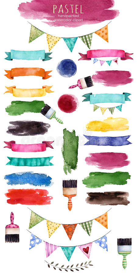 Raccolta multicolore con i nastri, colpo della spazzola, forme, elementi floreali dell'acquerello illustrazione vettoriale