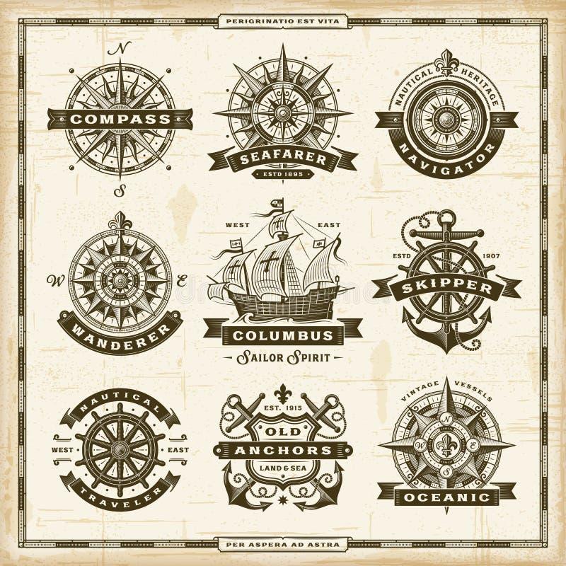Raccolta nautica d'annata delle etichette illustrazione vettoriale