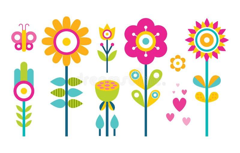 Raccolta nella progettazione piana, albero dei fiori della farfalla illustrazione vettoriale