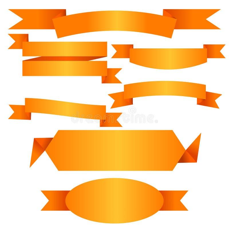 Raccolta piana dell'insegna del nastro dell'oro di vettore illustrazione di stock