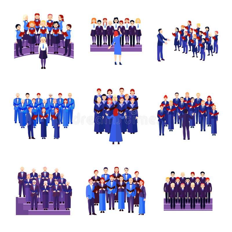 Raccolta piana delle icone dell'insieme di canto del coro illustrazione di stock