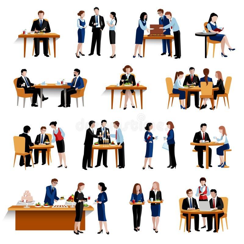 Raccolta piana delle icone di pausa del pranzo di lavoro illustrazione vettoriale