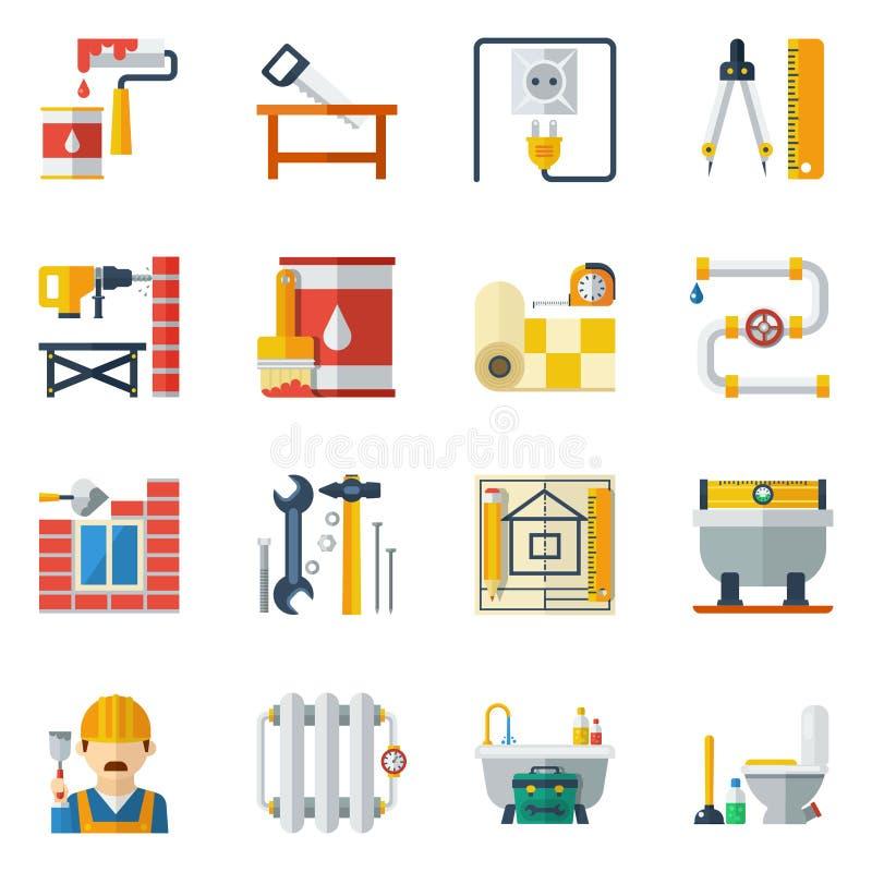 Raccolta piana delle icone di riparazione domestica illustrazione di stock