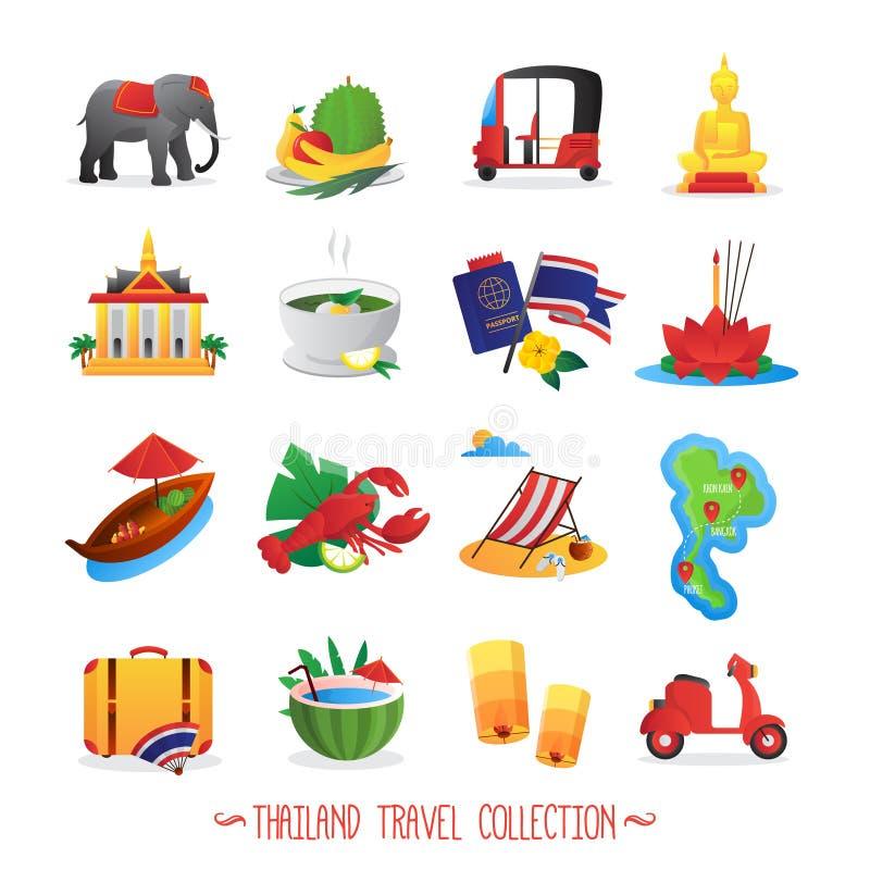 Raccolta piana delle icone di viaggio della Tailandia illustrazione di stock