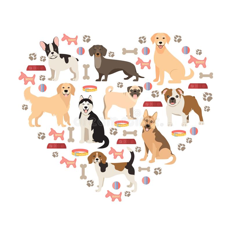 Raccolta piana di stile degli amanti dei cani Il fumetto insegue le razze messe Illustrazione di vettore isolata illustrazione di stock