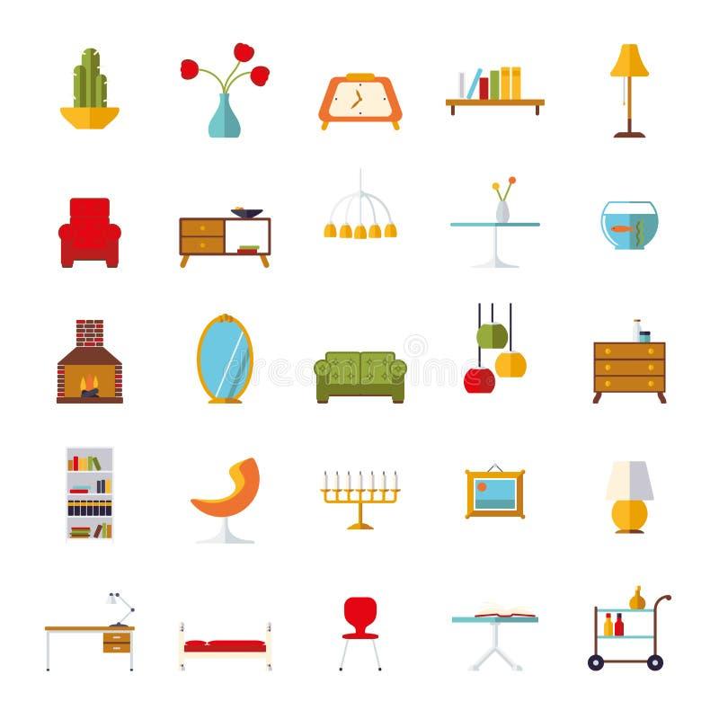 Raccolta piana interna domestica delle icone di vettore di for Mobilia domestica
