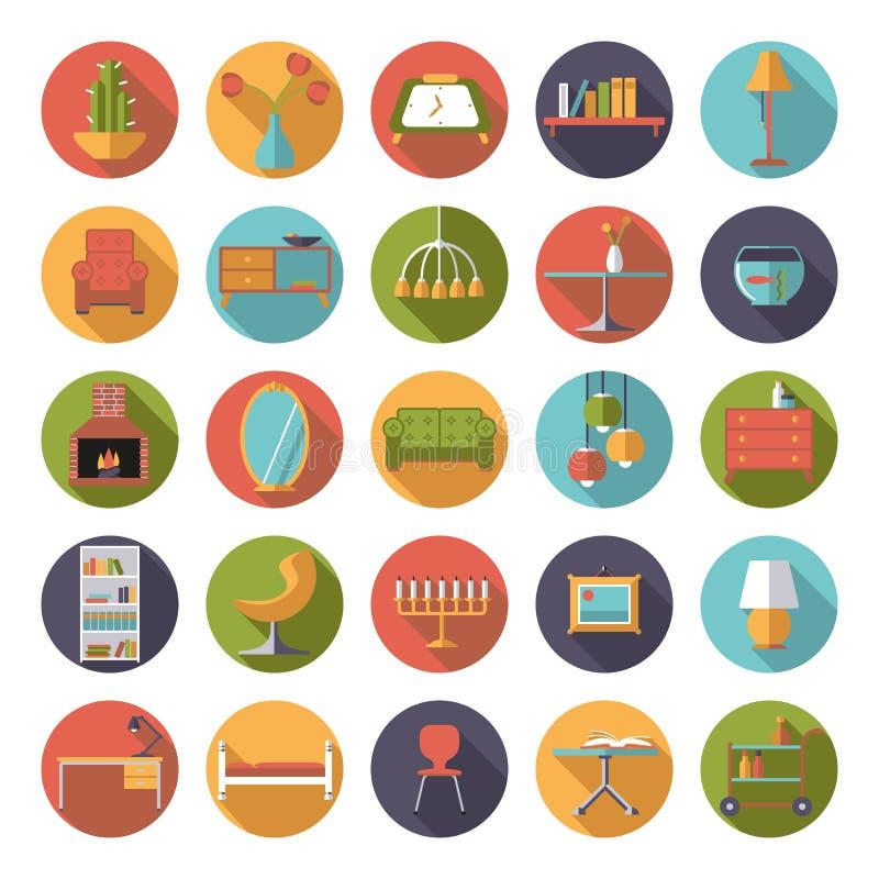 Raccolta piana interna domestica delle icone di vettore di for Software di progettazione domestica personalizzato