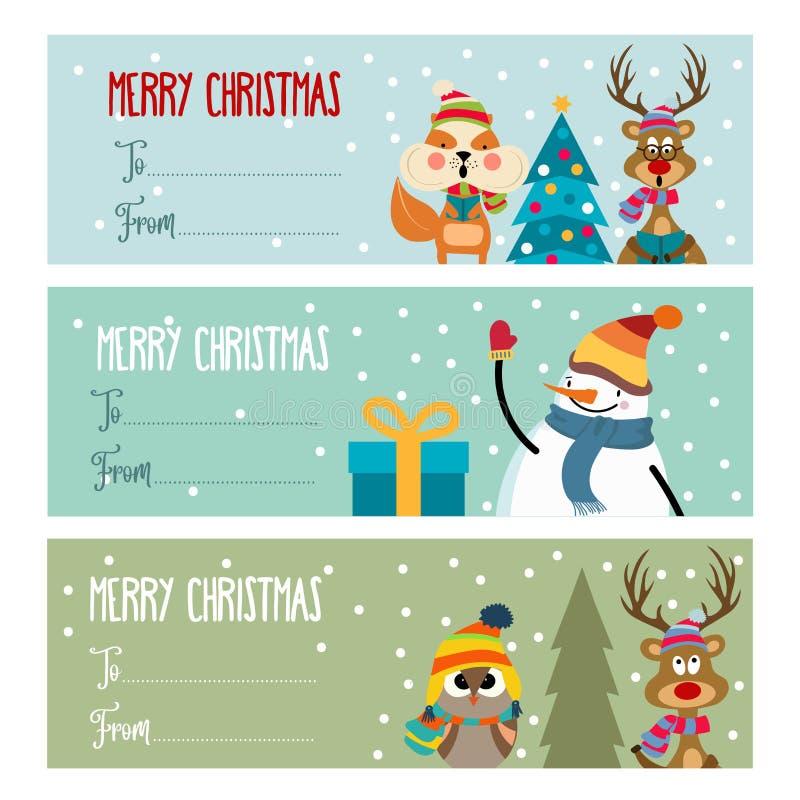 Raccolta piana sveglia delle etichette di Natale di progettazione illustrazione di stock