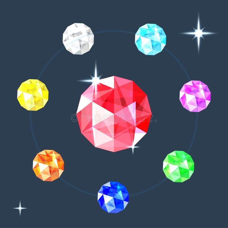 Raccolta realistica delle gemme Insieme dei gioielli differenti Illustrazione di vettore illustrazione vettoriale