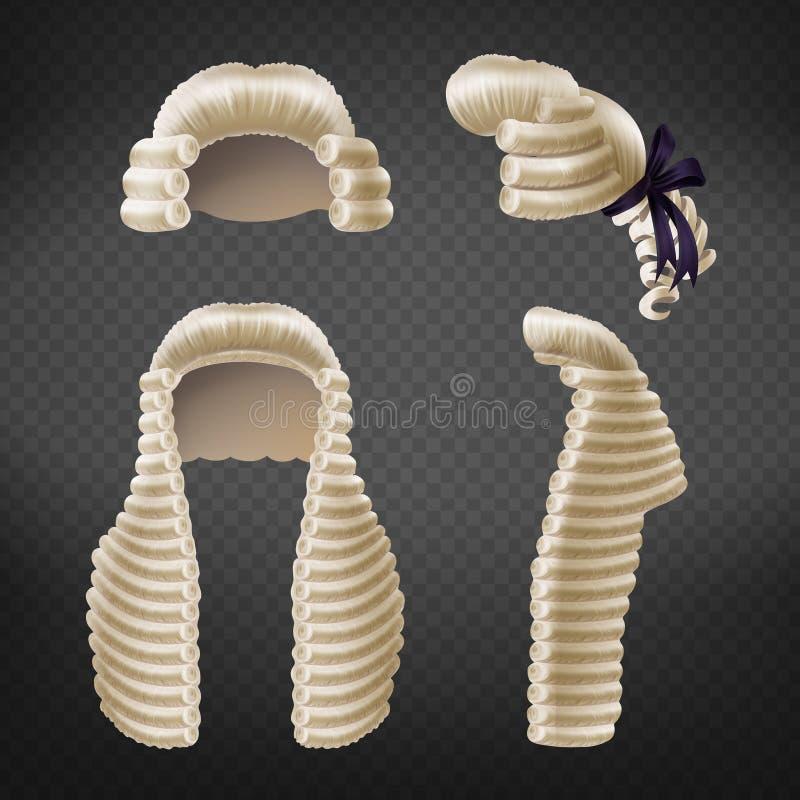 Raccolta realistica di vettore delle parrucche 3d del giudice royalty illustrazione gratis