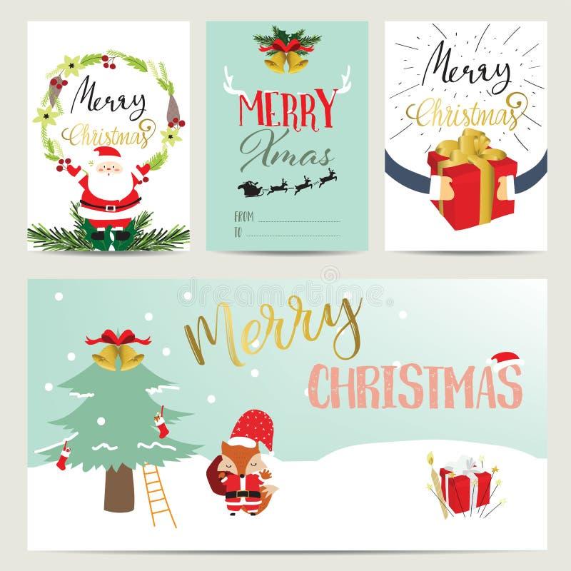 Raccolta rosa blu per le insegne, cartelli con Santa Claus, regalo illustrazione di stock