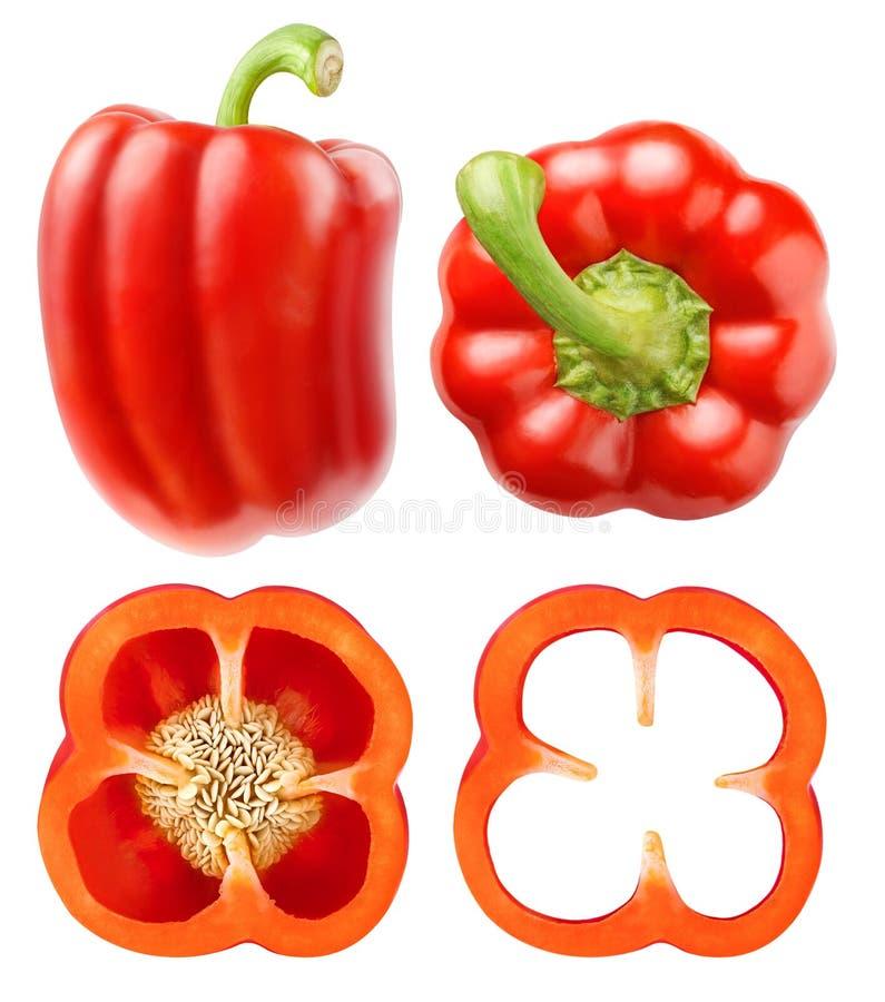 Raccolta rossa isolata del peperone dolce fotografia stock