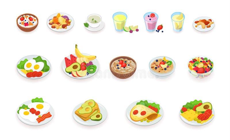 Raccolta sana delle icone dell'alimento di prima colazione Muesli, cereale, frutti e bacche, dadi, uova, omelette, avocado, frull royalty illustrazione gratis