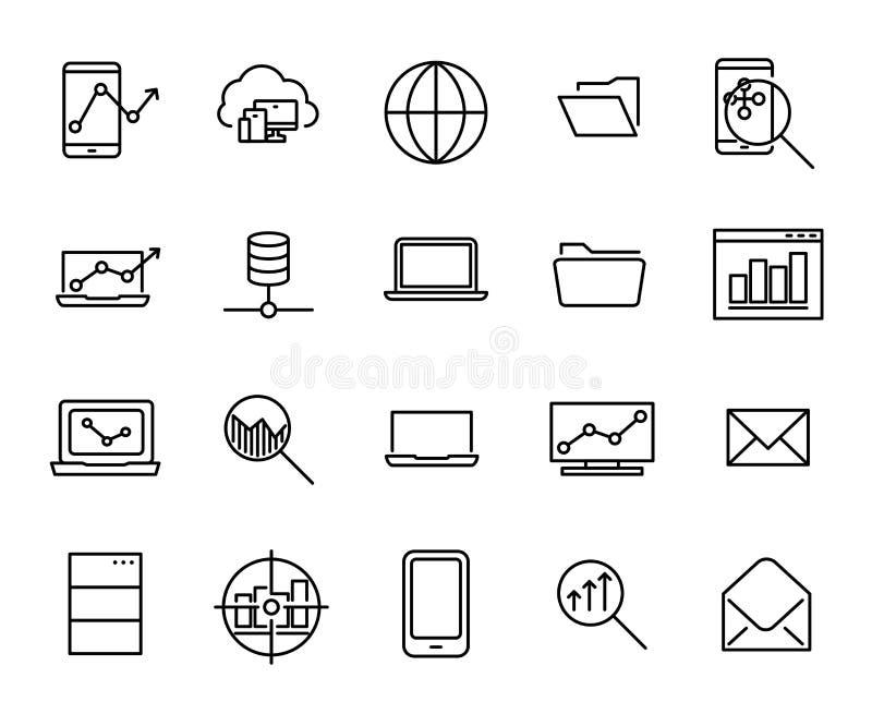 Raccolta semplice della linea relativa per lo sviluppo di programmi icone illustrazione vettoriale